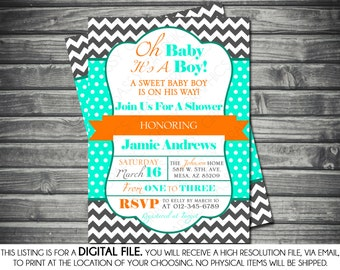 Boys Baby Shower Invitation - Modern, Chevron, Teal, Gray, Orange, Printable, Digital