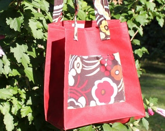 Large Maroon Tote Bag, Reusable, Market, Autumn Spice Floral Print, with Pocket, Burgundy, Gold, Aqua, Brown, Fall Colors