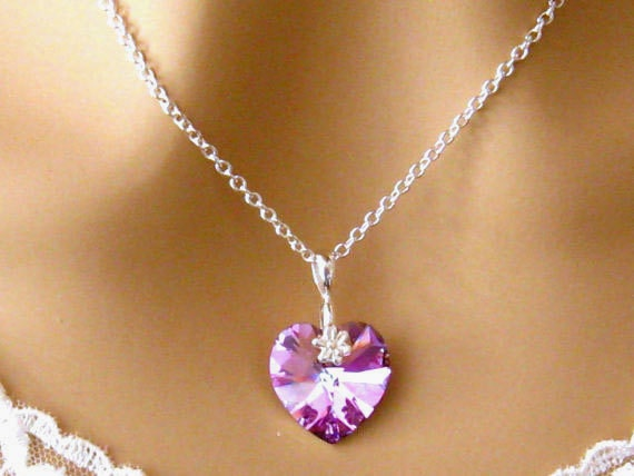 Pink Crystal Heart Necklace: Romantic Purple Swarovski Crystal Heart Necklace, Bridesmaids Gift, Bridal Wedding Jewelry, Sweet 16