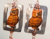 Shell Window and Orange Ceramic Owl Copper Dangle Earrings for the bold owl lover - Who's There  - Art Jewelry by Sarah McTernen