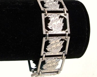 Vintage Sterling Silver Bracelet 1920s Art Deco Ships Charms