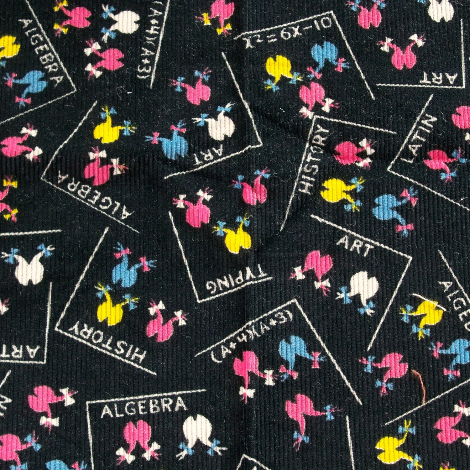 Vintage 1950s childrens fabric girls corduroy black pink blue for Kids corduroy fabric