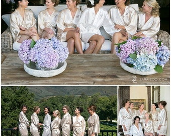 Bridesmaid Robes Champagne wedding robes bridesmaid silk robe dressing gown personalized robe kimono robes floral bridal robe set cream robe