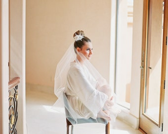 Bride silk satin robe White wedding robes bridesmaid robe dressing gown personalized silk robe lace robe bridal shower flower girl cheap kid