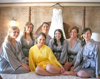Bridesmaid robe Gray Grey wedding robes bridesmaid silk robe dressing gown personalized robe kimono robe floral robe bridal robe flower girl