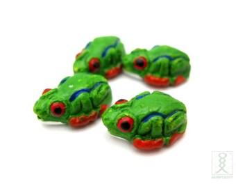 4pc Tree Frog Ceramic Beads, Small 15x10mm