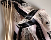 Personalized Wedding Ribbon Wands set of 100 Lace Wands, Custom Colors, Names, Date, weddings, baby, birthday, nautical, streamers, bubbles