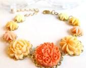 Flower Bracelet, Orange N Yellow, floral bracelet, resin flowers, gold plated settings