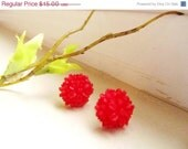 CLOSE OUT SALE Clustered Floral Stud Earrings - Red Flower Earring Post