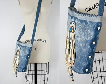 90s Vintage Fringe Leather Denim Boho Shoulder Bag. Crossover Purse