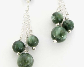 Seraphinite Earrings in Sterling Silver, Handmade Seraphinite Earrings, Seraphinite and Silver Earrings, Made in the USA, Green Earrings