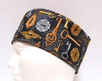 Mens Scrub Hat, Surgical Cap or Skull Scrub Cap Gold Keys on Black