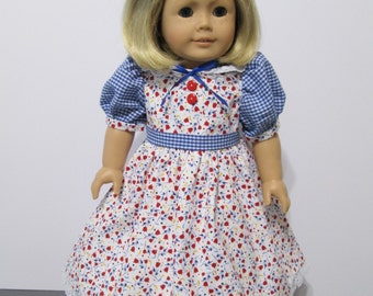American Girl or 18 Inch Doll Clothes / 2 pc. White Multicolored Floral and Blue Checked Party Dress and Hair Bow