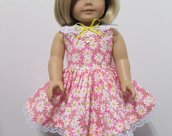 American Girl or 18 Inch Doll Clothes / Pink and White Springtime Daisies Sleeveless Party Dress