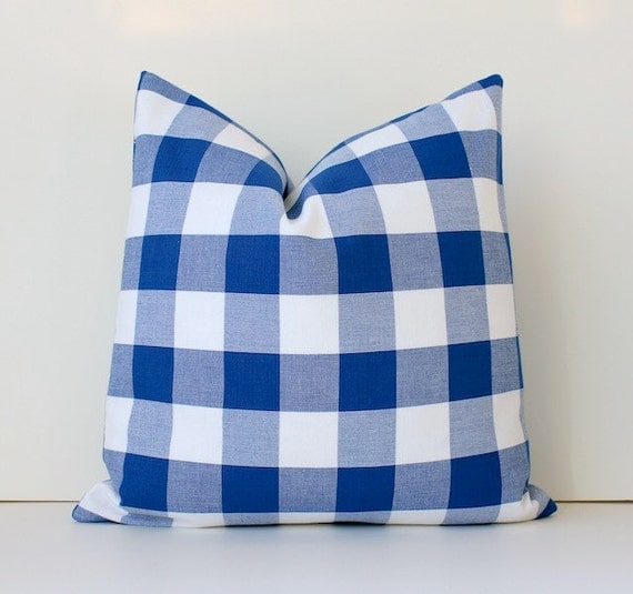 """Check Blue Gingham Decorative Designer Pillow 16"""" Navy White Accent Cushion Cover. Rustic Modern . Nautical Covington. Holiday"""