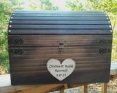 Rustic Wedding Card Box - HUGE (LARGE) Size - Rustic Wood Chest with Card Slot and Key Set  - All Inclusive