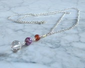 Archangel Michael - Amber, Sugilite, Clear Quartz and Golden Topaz Chakra Pendant Necklace