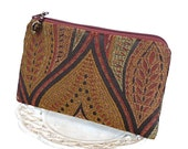 Small Zipper Pouch, Change Purse, Coin Pouch - Bargello Brocade in Spice, Bronze and Brown