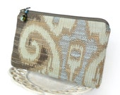 Small Zipper Pouch, Change Purse, Coin Pouch - Sedona Tapestry in Blue, Taupe and Mint