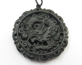 Vintage Style Natural Stone Carved Design Dragon Amulet Talisman Pendant Bead For Handwork Jewelry 46mm x 46mm TH171