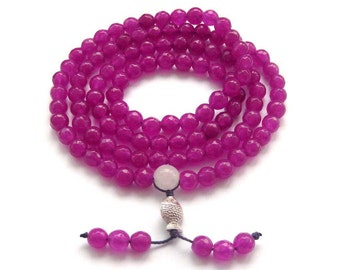 6mm Tibetan Buddhist Faceted 108 Rose Pink Stone Meditation Yoga Prayer Beads Mala  ZZ257