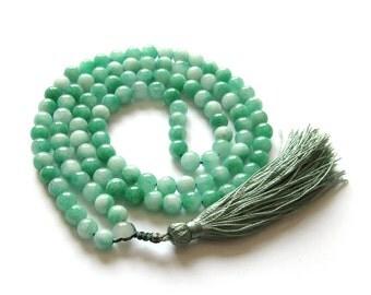 8mm Mint Green Stone 108 Prayer Beads Charm Beaded Tibet Buddhist Mala Necklace  ZZ268