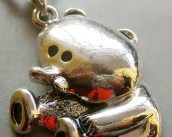 Lovely Seated Bear Alloy Metal Pendant Bead 40mm x 30mm  T1555