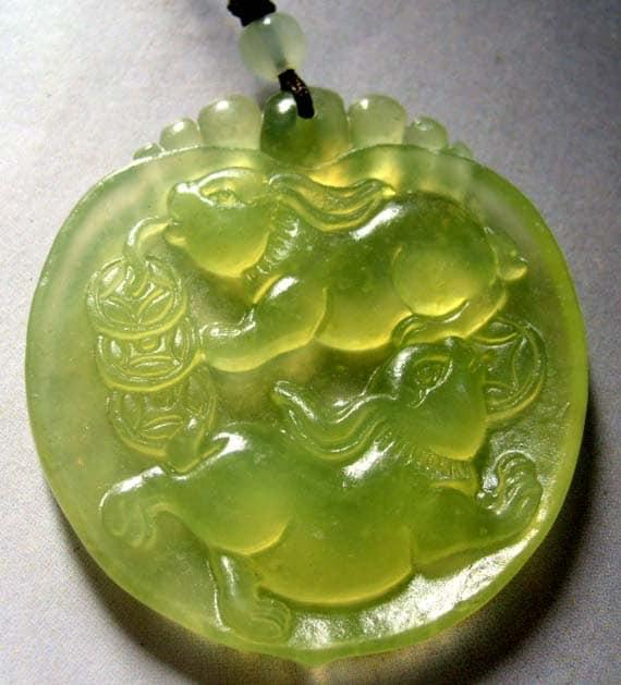 Green Xiuyan Stone Two Fortune Rabbit Money Talisman Amulet Pendant 45mm x 40mm  T0322