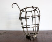 Large Antique Industrial Lamp Cage