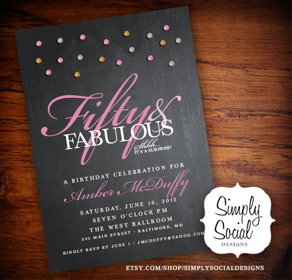 Glam Surprise 50th Birthday Party By SimplySocialDesigns