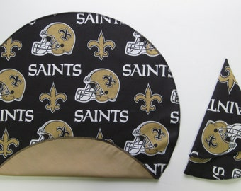 "Saints Napkins - Set of Four, Six or Eight Reversable Round 18"" Napkins  OR 18"" Single-Sided Square Napkins - HANDMADE"