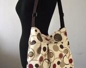 Crossbody Diaper Bag Messenger Bag  Beige Brown Dots Shoulder Bag School Teacher Bag Travel bag Canvas Weekender Bag