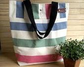 WATERPROOF Canvas Tote Bag Striped Large Beach Bag Nautical Stripes Bag Shoulder Bag Eco friendly Canvas Shoulder Handbag 4 Pockets