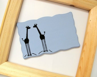 Personalized Door sign-Two Giraffes, blue and black sign for kids room, family front door sign, couple sign, students sign