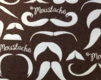 Mustache Flannel Brown - FLANNEL Fabric - BTY