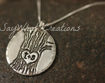 Silver Carved Tree with Initials Necklace Hand Stamped into fine silver