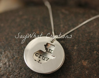 Custom Hand Stamped Sterling Silver GUATEMALA Locket Necklace Perfect for Adopting Mothers
