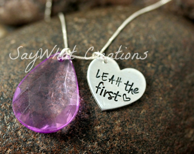 """Hand Stamped Necklace with Purple Amulet Crystal Charm and Personalized Name with """"the first"""""""