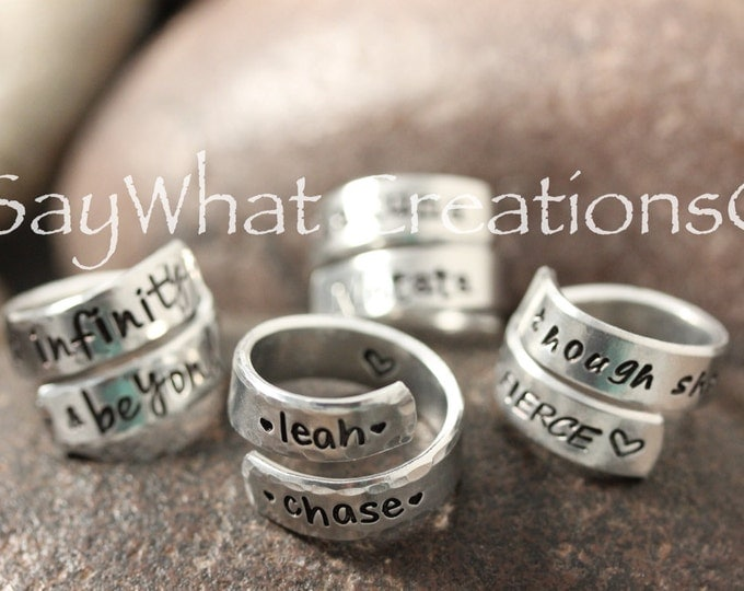 Custom hand stamped Wrap Ring personalized your way One Size Adjustable