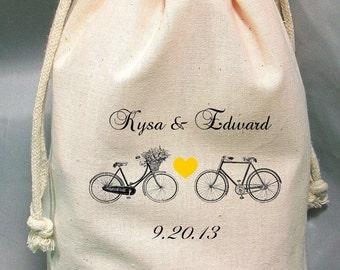 8x12 Drawstring Bags- Wedding Favor-Party Favor - Pick SIze - Muslin Bag -Bicycles  - Customize