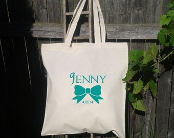 Bridesmaid Gift Bags - Welcome Bags for Wedding - Bow with name and date - Flower Girl