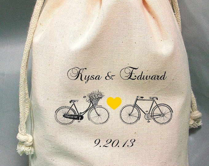 8x12 Drawstring Bags- Wedding Favor-Party Favor - Pick SIze - Muslin Bag -Bicycles  - Customize