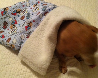 Small Dog / Dachshund Blue with Super Dogs print Snuggle Sack / Sleeping Bag FREE SHIPPING within the US