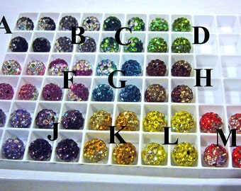 DIY Bling Bling Shamballa Rhinestone Beads 13 color choices 8mm, 4pcs Through hole for jewelry making, scrapbooking, sewing, craft