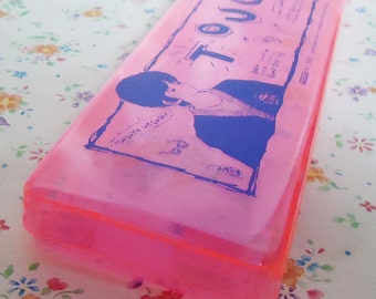 Authentic Japanese Touch Pencil Case.80s.Neon Pink