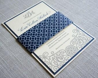 Letterpress Iron Gate Scrollwork Wedding Invitation