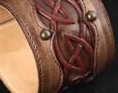Leather Cuff, Leather Bracelet, Leather cuff with a celtic design:  Walnut Dara Cuff