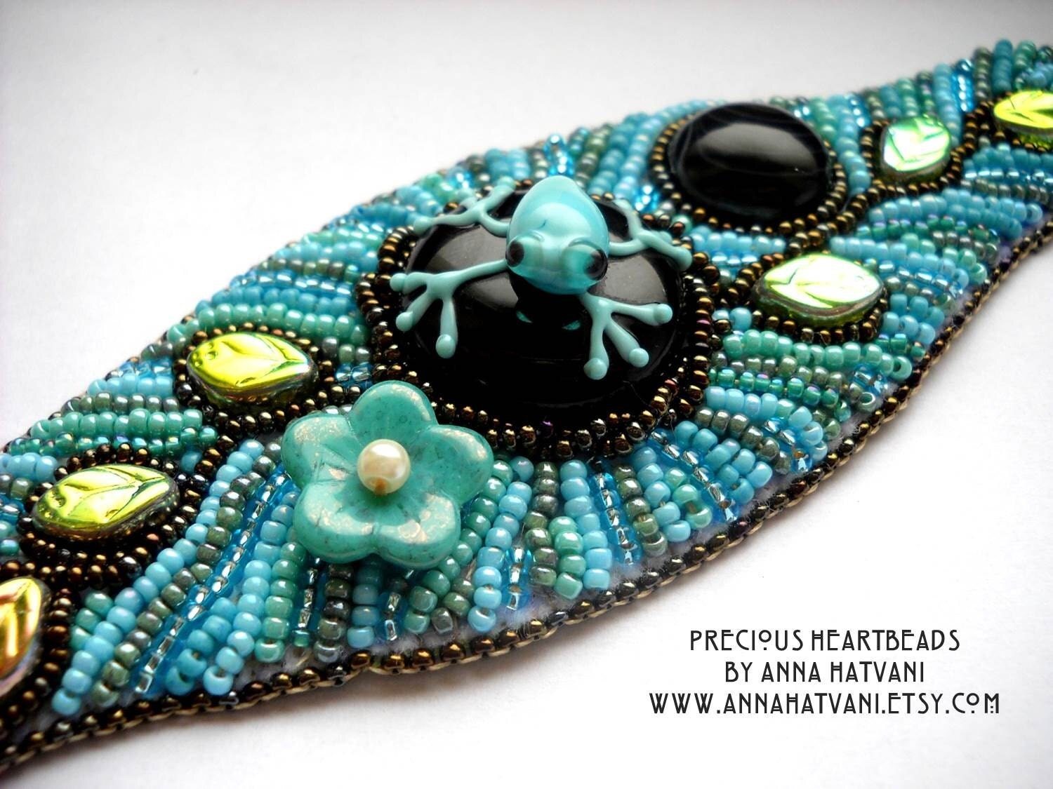 Bead embroidery bracelet cuff turquoise by preciousheartbeads