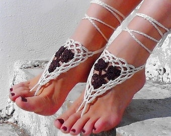 Crochet Brown Cream Barefoot Sandals, Nude shoes, Foot jewelry, Wedding, Lace, Sexy, Yoga, Bellydance, Knitted sandals, Beach Pool