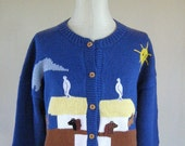 Tacky Noah's Ark Novelty Knit Sweater Cardigan Top